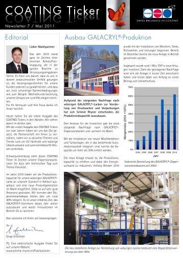 Editorial Ausbau GALACRYL®-Produktion - Schmid Rhyner