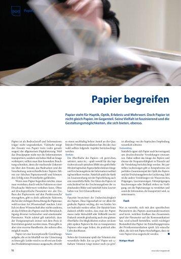 Papier begreifen - Fachverband Medienproduktioner