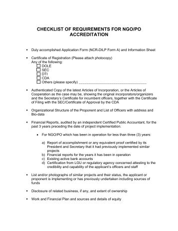 checklist of requirements for ngo/po accreditation - DOLE