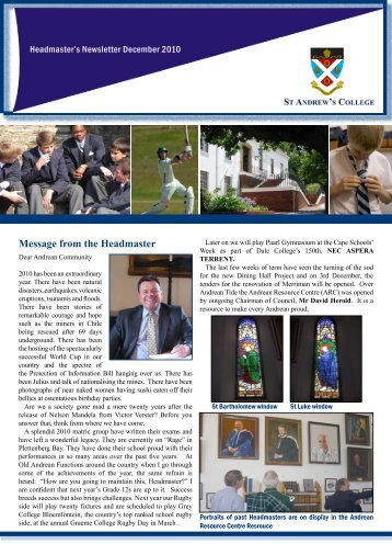 Message from the Headmaster - A Family of Schools