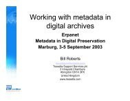 Working with metadata in digital archives - Erpanet