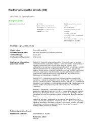 Riaditeľ odštepného závodu (OZ) - Lesy SR š.p.
