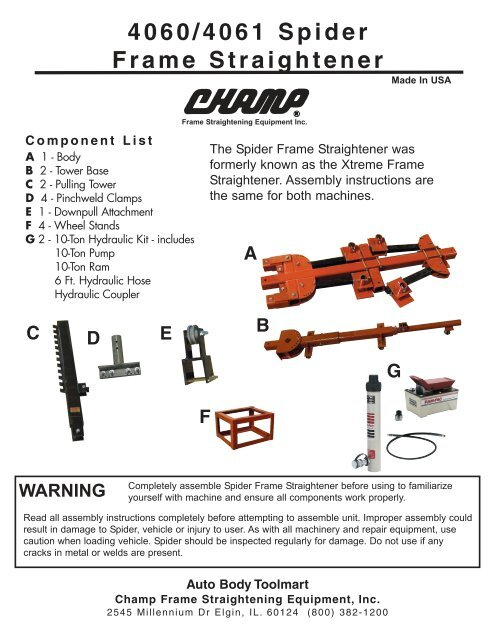 Champ Spider Frame Straightener Auto Body Toolmart