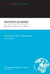 Russia and The West: A Reassessment - Defence Academy of the ...