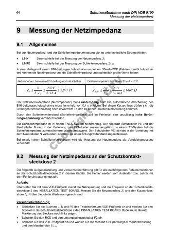 9.2 Messung der Netzimpedanz an der Schutzkontakt - Epv-Verlag
