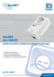 ALLNET ALL168255 ALLNET ALL168255 / 500Mbit HomePlugAV ...