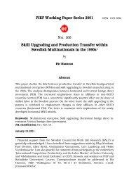 FIEF Working Paper Series 2001 No. 166 Skill ... - S-WoPEc