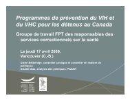 Programmes de prévention du VIH et du VHC pour les détenus au ...