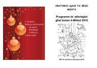Programm tal-Oratorju Qalb ta' Ġesu għal żmien il-Milied 2010
