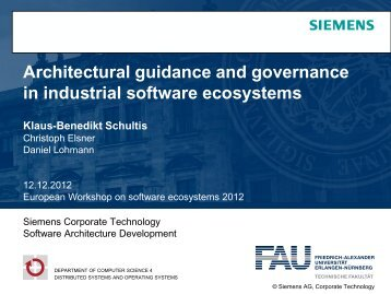 Architectural guidance and governance in industrial software ... - CS 4
