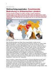 Weltverfolgungsindex 2013 - Kirchenkreis Obere Nahe