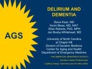 DELIRIUM AND DEMENTIA - American Geriatrics Society