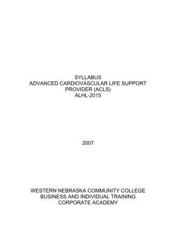 syllabus advanced cardiovascular life support provider (acls)