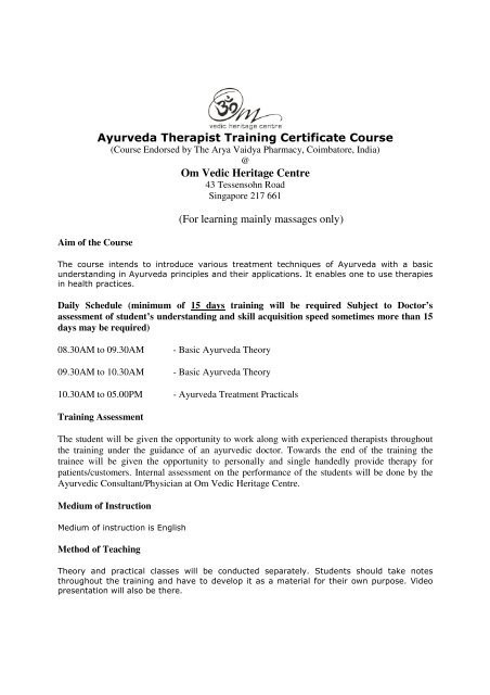 i) Ayurveda Therapist Training - Om Vedic Heritage Centre
