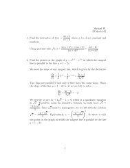 Michael W. SI Math 165 1. Find the derivative of f(x) = ax + b cx + d ...