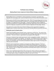 Beating Bowel Cancer submission to Cancer Reform Strategy