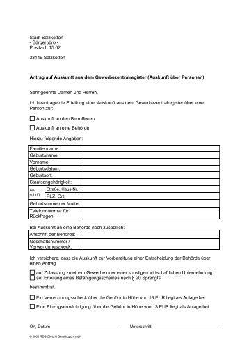 Gewerbezentralregister - Antrag auf Auskunft über Personen