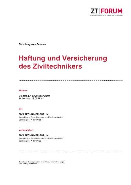 Haftung und Versicherung des Ziviltechnikers