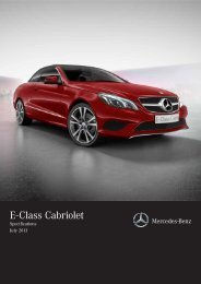 Mercedes-Benz E-Class Cabriolet Equipment & Specifications
