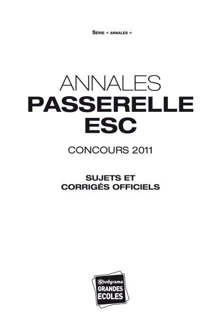 Annales Passerelle Esc Applications Services
