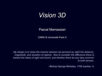 Disparités binoculaires - Pascal Mamassian