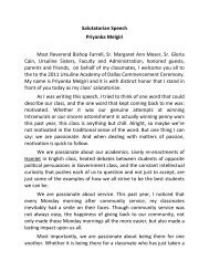 Read the Salutatory Address - Ursuline Academy of Dallas