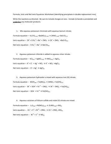 Net Ionic Equation Worksheet Answers. Worksheets. Reviewrevitol ...