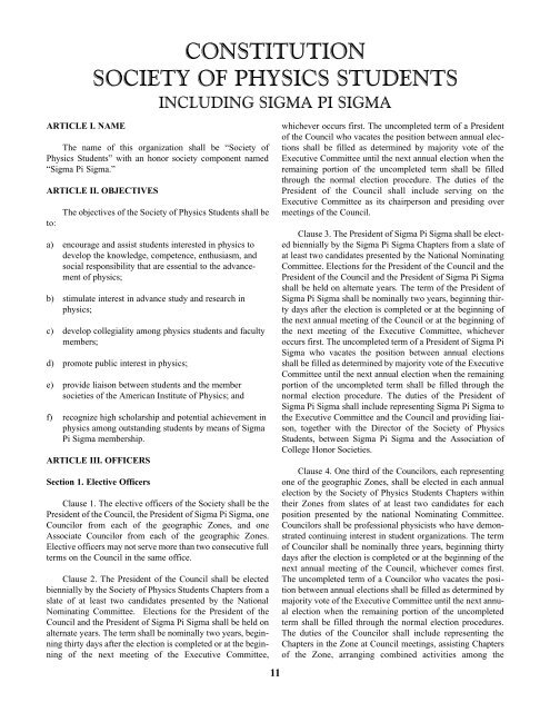 Constitution and Bylaws - Sigma Pi Sigma