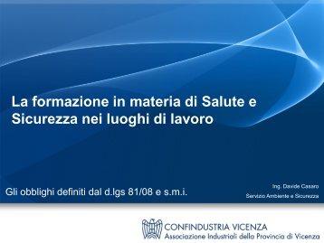 lavoratori - Associazione Industriali della Provincia di Vicenza