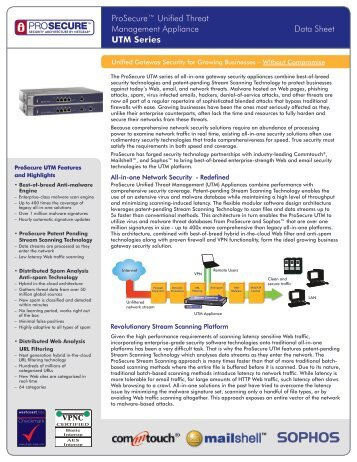 ProSecure™ Unified Threat Management Appliance Data Sheet ...