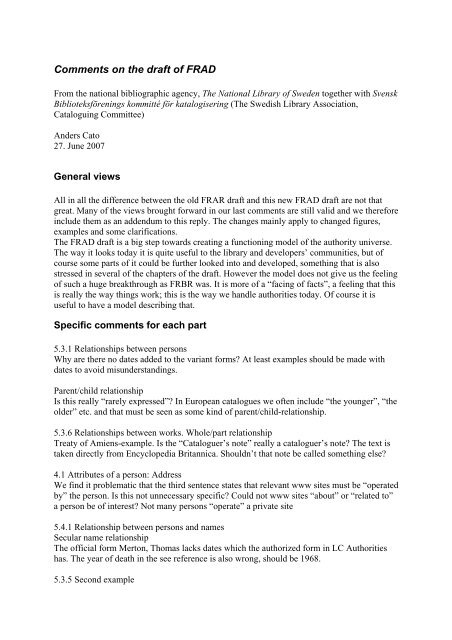 Comments on the draft of RDA, chapter 3 - Svensk Biblioteksförening