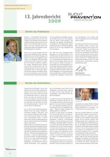 13. Jahresbericht 2009 - Suchtprävention Zürcher Unterland