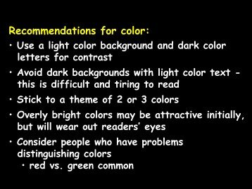 Recommendations for color: