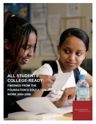 Findings from the Foundation's Education Work 2000-2006 - Indiana ...