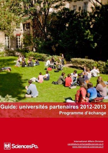 Guide: universités partenaires 2012-2013 - Sciences-Po International