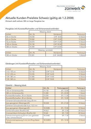 Aktuelle Kunden-Preisliste Schweiz (gültig ab 1.2.2008) - Züriwerk