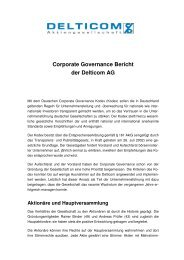 Corporate Governance Bericht der Delticom AG