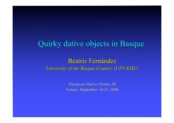 Quirky dative objects in Basque - Iker