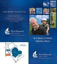 Download the Spine Center Brochure - Floyd Memorial Hospital