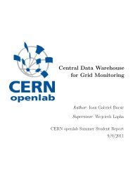 Central Data Warehouse for Grid Monitoring - CERN openlab