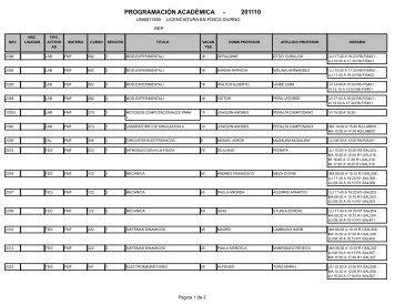 201110 PROGRAMACIÓN ACADÉMICA -