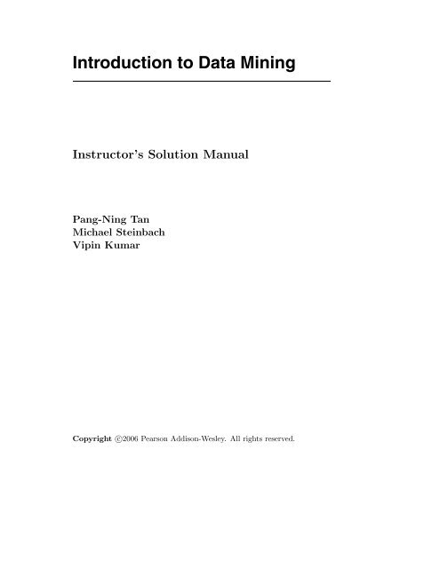 Introduction To Data Mining Pang-ning Tan Pdf