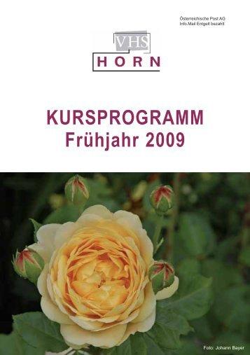 KURSPROGRAMM Frühjahr 2009 - VHS Horn