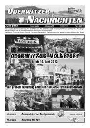 der nächsten Oderwitzer Nachrichten ist der - Gemeinde Oderwitz