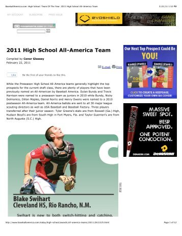 2011 Baseball America Pre-Season All American Teams