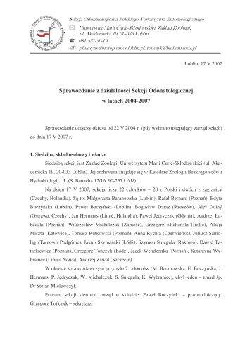 Sprawozdanie z działalności Sekcji Odonatologicznej w latach 2004 ...