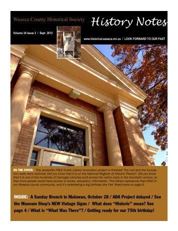 September 2012 - Waseca County Historical Society