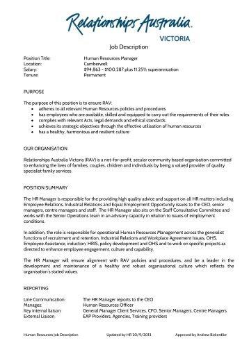 Senior Projects Officer Job Description  Relationships Australia