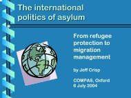 New approaches to to the refugee issue - COMPAS
