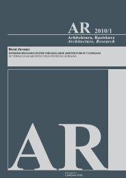 AR 2010/1 - Fakulteta za arhitekturo - Univerza v Ljubljani